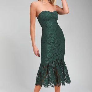 Lulus Forest Green Lace Strapless Peplum Hem Dress